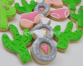 Bachelorette - Bridal - Cactus - pink - diamond ring - panties - Sugar Cookies - 1 Dozen - Desert  - Cute - bride - engagement arizona