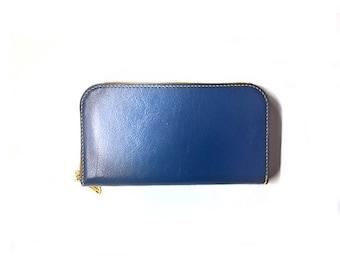 Leather blue wallet/zipper wallet/leather wallet/wallet/clutch