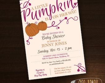 Little Pumpkin Baby Shower Invitation, Fall Autumn Invite, Gender Neutral Colors