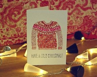 Illustrated Christmas Jumper Cards -  Set of 8, 4 designs