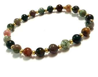 Genuine Fancy Jasper Yoga Mala Bracelet - Natural Spirited Stones Bracelet -Abundance -Healing Stones Bracelet - Stretch Bracelet - Handmade