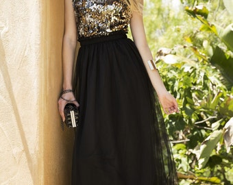 Sequin Top Chiffon Long Dress