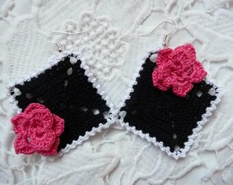 Crochet earrings black earrings pink flower earrings festival earrings crochet jewelry elegant earrings bohemian jewellery crochet rose