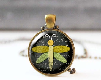 Dragonfly necklace, Lime Green chalk charm necklace, Animal lover gift, Photo necklace for women, Unique jewelry, 5020-1