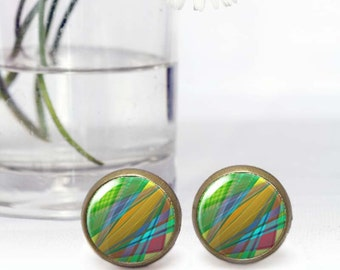 Round Cabochon earrings, Colorful stud earrings, Tiny stud earrings, Affordable Gifts for her, Boho art jewelry for women, 5039-3