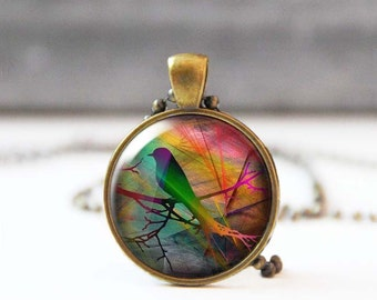 Starling on branch photo necklace, Round Image pendant, Nature inspired jewelry, Wearable art, Nature lover gift, 5018-2