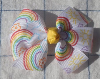 Rainbow Printed Bow, Girls Bow, Hair accessories