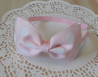 Minnie Mouse Inspired Headband, Ribbon Headband, Pink Ribbon Headband, Minnie Mouse Headband