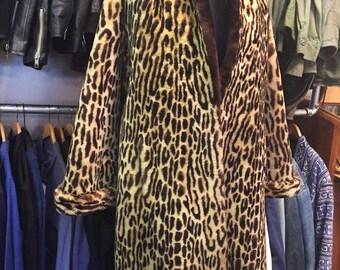 1950s Printed Leopard Sheep Skin Coat