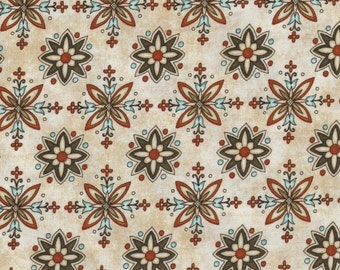 In Bloom - Per Yd - Quilting Treasures - Great Gold Black Cream Combo