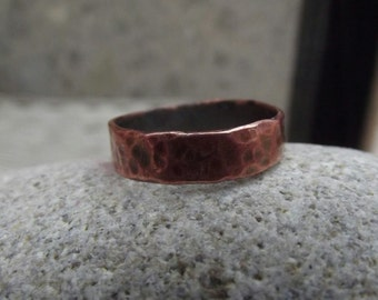 Copper mens ring, copper ring for men, rustic copper ring, jewelry for men, copper man ring, copper hammered ring for men