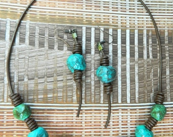 Handmade Necklace,Turquoise and Green,  Primitive Rustic Knotted Leather Necklace and Earrings, Recycled Paper Jewelry, Paper Mache Beads