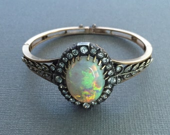 Breathtaking Antique Victorian Opal and Diamond Bangle Bracelet