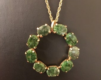 """Ronci Green Jade 12k Gold Filled Pendant & 18"""" Chain"""