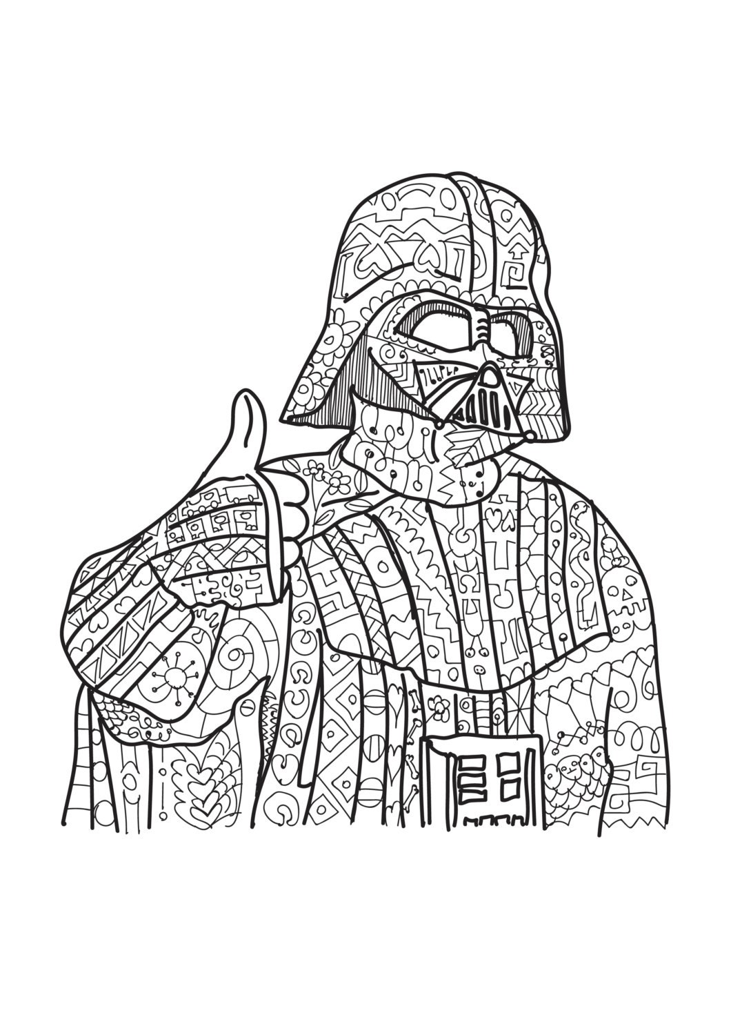 darth vader star wars coloring page adult coloring. Black Bedroom Furniture Sets. Home Design Ideas