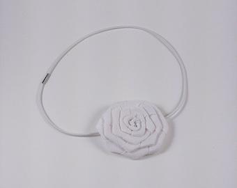 White Single rosette headband