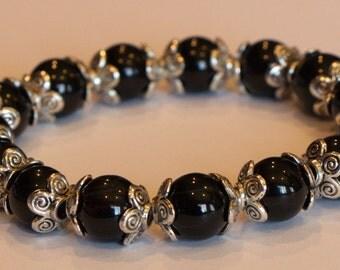 Black and Pewter Beaded Stretch Bracelet