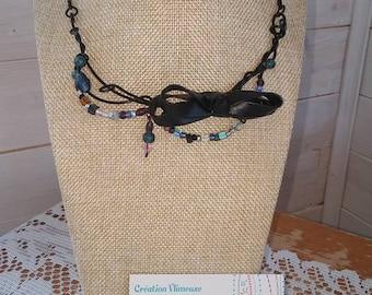 evening loop necklace, black wire