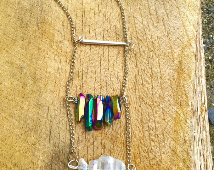Aura Crystal Tiered Silver Necklace