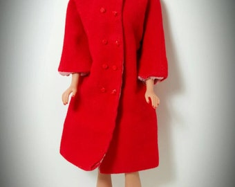 """Vintage Barbie Doll Sized 12"""" Red Pea Coat Peacoat - Doll not included"""