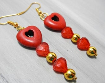 Red Heart Dangle Earrings, Valentines Day Earrings, Red Turquoise Dangle Earrings, Valentines jewelry, Red and Gold Heart Shape Earrings