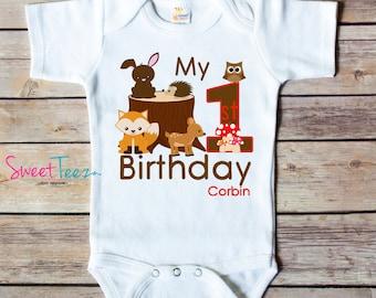 First Birthday Shirt Woodland Animals Personalized Shirt fox deer owl rabbit Boy Girl Baby Bodysuit