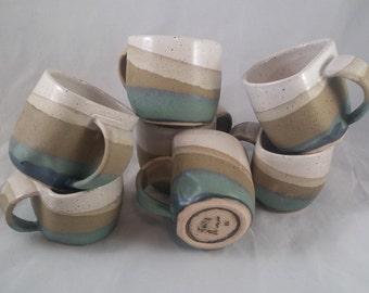beach inspired mug, teal and cream mug, seaside, shore, tea cup, coffee cup