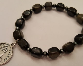 Recovery bracelet: Golden obsidian nugget and hematite handmade beaded bracelet with Serenity Prayer recovery charm
