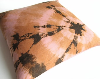"Decorative Pillow Cover 18x18"" - Brown, Golden, Pink - Home Decor - Natural Linen Throw Pillow Case - Hand-Dyed"