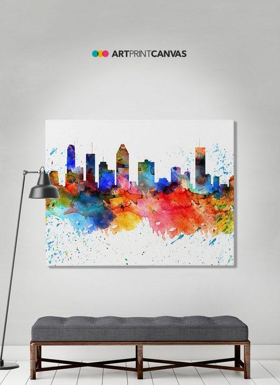 Montreal Print Canvas Art Montreal Watercolor Skyline