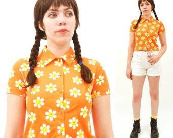 1990s, Vintage Next Generation Kids, LARGE, orange, Smiley face, dasiy, short sleeve top