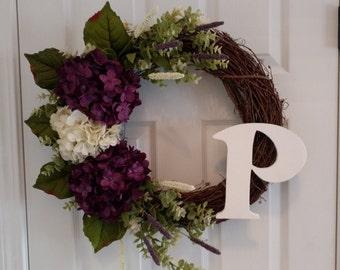 Plum Purple Hydrangea Wreath.Spring Wreath.Summer Wreath.Front Door Wreath.MonogramWreath.Hydrangea Wreath.Mother's Day Gift
