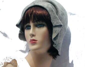 Custom 1920's gray contemporary flapper handmade cloche benefits Susan Komen foundation