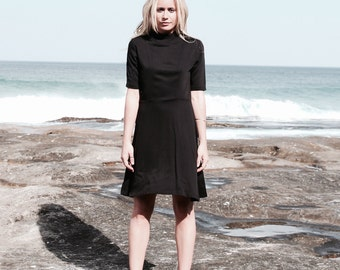 CARETL DRESS | High Neck Dress, A Line Dress, Short Dress, Causal Dress,Skater Dress