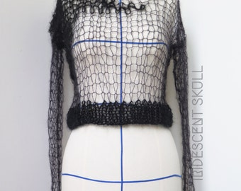 Black Hand Knitted Mohair Sweater