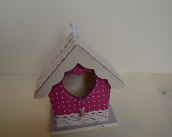 Small birdhouse decoration, wooden bird house, hanging decoration