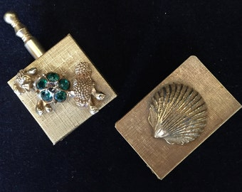 Goldtone ashtray and match box cover