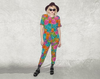 Super Duper Amazing Colorful/Multicolor Floral Jumpsuit With Cigarette Trousers And Short Sleeves//FREE SHIPPING WORLDWIDE!