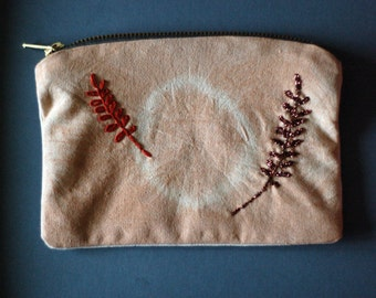 100% linen hand-dyed avocado & hand-stitched leaf zippy purse, make-up bag, wallet, lined and eco-dyed