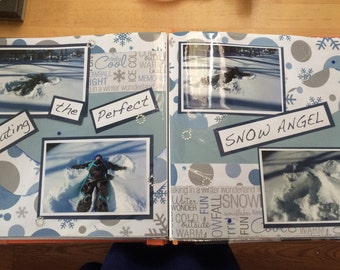 Premade 12 x12 scrapbook pages   Snow Angels set of two pages// winter// custom made// personalized