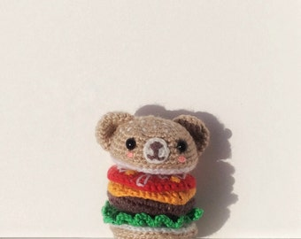Mr Bearger - handmade amigurumi bear burger toy