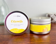 CITRONELLA Scented Soy Candle in 4oz Tin, Scented Candle, Wood Wick Candle, Citronella Candle, Summer Candle, Bug Repellent Candle