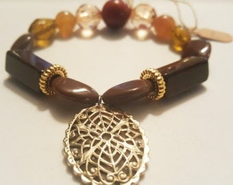 Gold Pendent -  brown and gold beaded bracelet