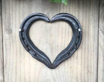 Hand Forged Rustic Horseshoe Heart - Waxed
