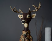 Deer figurine bar decoration animal head human body christmas decor papier mache forest figurine remodeled bottle recycled nursery