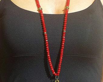 Handmade Necklace, Handmade Crystal Necklace, Bronze Cross Handmade Necklace with Crystal beads, FREE SHIPPING WORLDWIDE