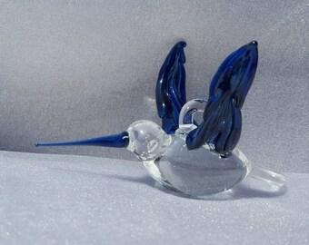 Handmade Deep Blue Glass Hummingbird, Ornament, Glass Figurine