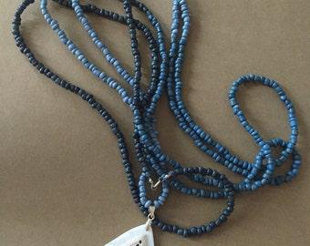 Blue Ombré Seed Bead Pendant Wrap Necklace