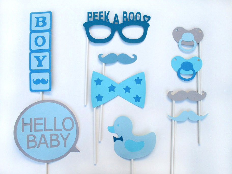 boy baby shower photo booth props photobooth props boy
