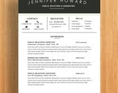 "Resume Template | CV Template + Cover Letter  | Modern Resume Design | Microsoft Word  | Fully Customizable (""Highland"")"